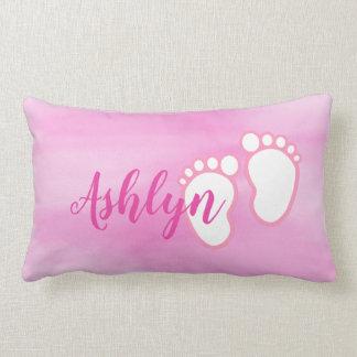 Pink Watercolor Baby feet Footprint Personalized Lumbar Pillow