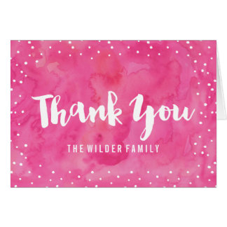 Pink Watercolor Baby Shower   Thank You Card