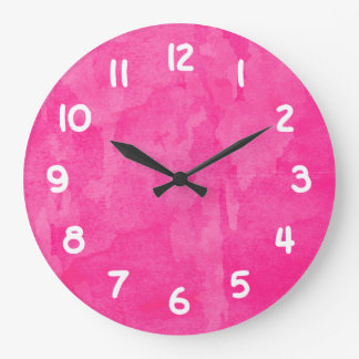 Pink Watercolor Background Large Clock