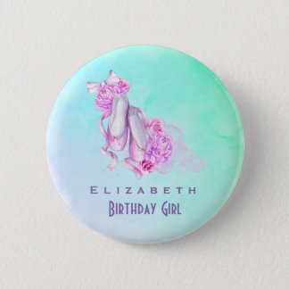 Pink Watercolor Ballet Shoes Birthday Girl 2 Inch Round Button