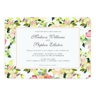Pink Watercolor Blossom Pattern - Wedding Card