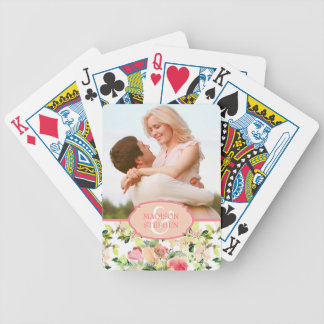 Pink Watercolor Blossom Pattern - Wedding Photo Bicycle Playing Cards
