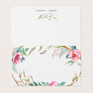 Pink Watercolor Bohemian Wreath Floral Place Card