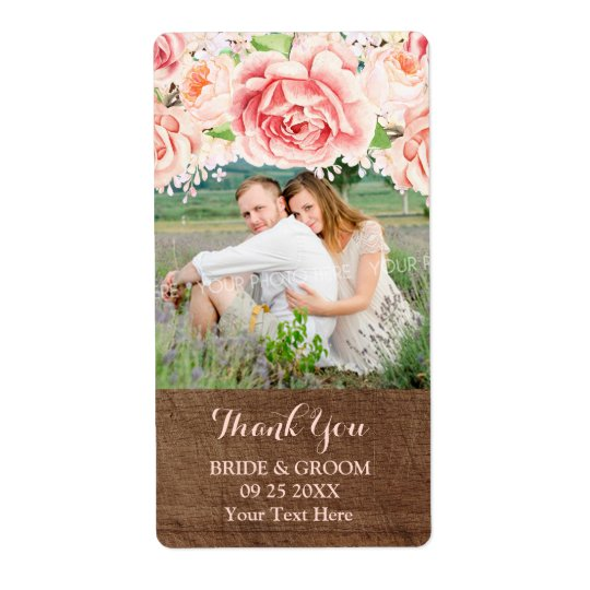 Pink Watercolor Brown Wood Photo Wedding Label Shipping Label