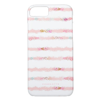 Pink Watercolor Brush Strokes Stripes Personalized iPhone 8/7 Case