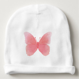 Pink watercolor butterfly baby beanie