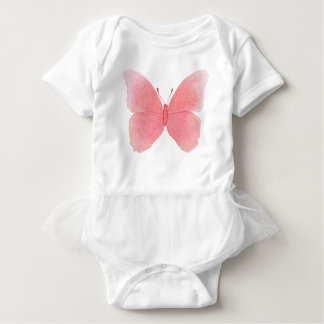 Pink watercolor butterfly baby bodysuit