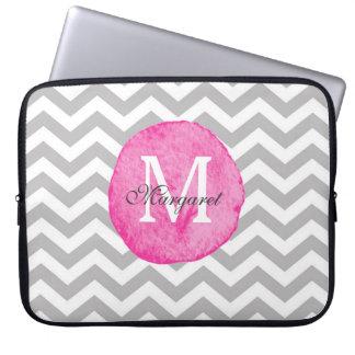 Pink Watercolor Chevron Personalize Laptop Case