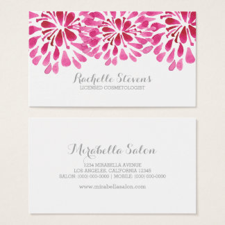 Pink Watercolor Chrysanthemums Business Card