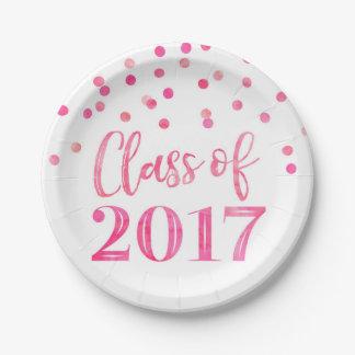 Pink Watercolor Confetti Graduation 2017 Paper Plate