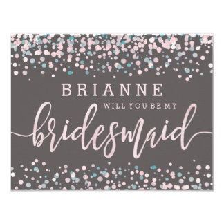Pink Watercolor Confetti Will You Be My Bridesmaid Card