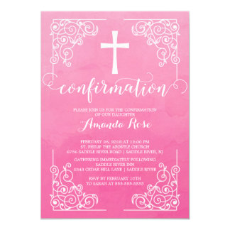 Pink Watercolor Cross Confirmation Invitation