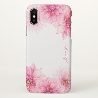 Pink Watercolor Dahlias with Your Name iPhone X Case