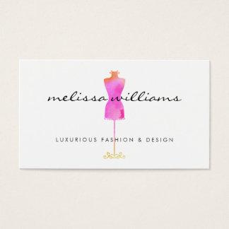 Pink Watercolor Dress Mannequin Fashion Boutique Business Card