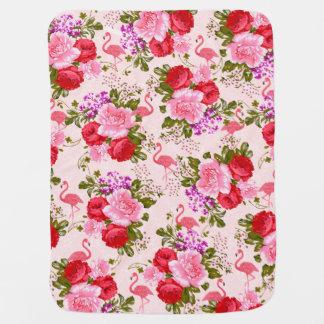 Pink watercolor elegant flamingo vintage floral baby blanket