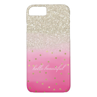 Pink Watercolor Faux Gold Glitter Beautiful iPhone 8/7 Case