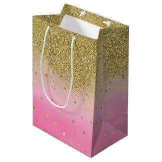 Pink Watercolor Faux Gold Glitter Confetti Medium Gift Bag
