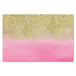 Pink Watercolor Faux Gold Glitter Mini Confetti Tissue Paper