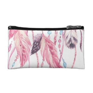 Pink Watercolor Feathers boho cosmetics case