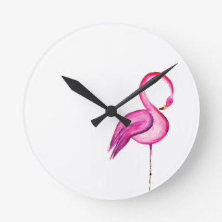 Pink watercolor flamingo clocks