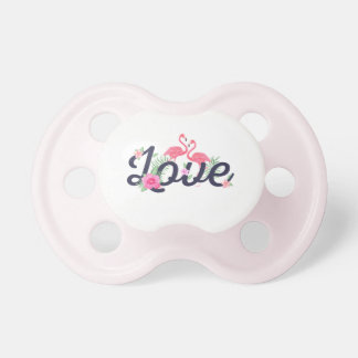 Pink watercolor flamingo flowers love typography pacifier
