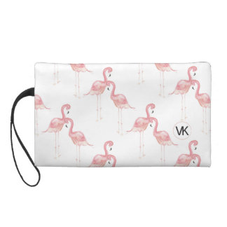 Pink Watercolor Flamingo Wristlet