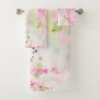 Pink Watercolor Floral Bathroom Towel Set