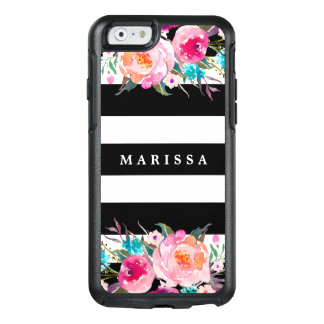 Pink Watercolor Floral Black White Stripe OtterBox iPhone 6/6s Case