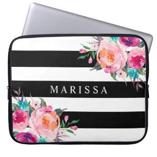 Pink Watercolor Floral Black White Stripes Custom Laptop Sleeve
