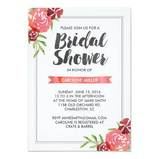 Pink Watercolor Floral Bridal Shower Invitation