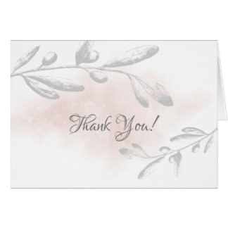 Pink Watercolor Floral Bridal Shower Thank You Card