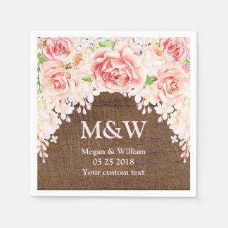 Pink Watercolor Floral Brown Wood Wedding Napkin Paper Napkin