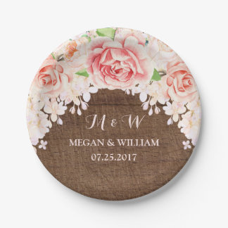 Pink Watercolor Floral Brown Wood Wedding Plate