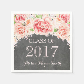Pink Watercolor Floral Chalkboard 2017 Graduation Disposable Napkin