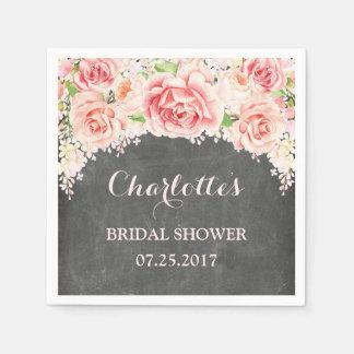 Pink Watercolor Floral Chalkboard Bridal Shower Disposable Napkins