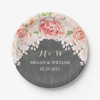 Pink Watercolor Floral Chalkboard Wedding Plate