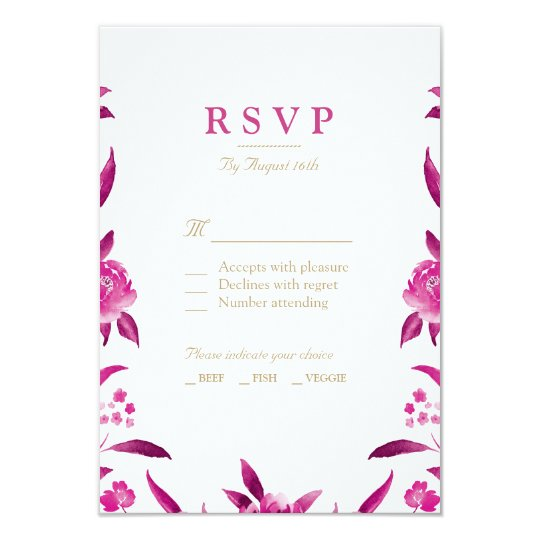 Pink Watercolor floral Chinoiserie Wedding RSVP Card