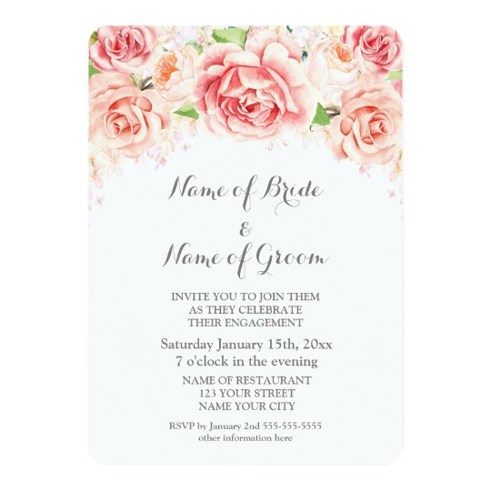Pink Watercolor Floral Engagement Party Card