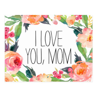 Pink Watercolor Floral Mother's Day Postcard