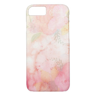Pink Watercolor Floral Pattern iPhone 7 Cases