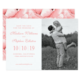 Pink Watercolor Floral Pattern - Save the Date Card