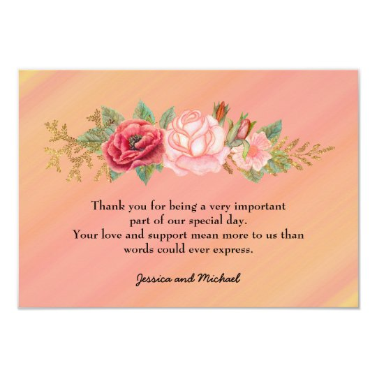 Pink Watercolor Floral Photo Wedding Thank You Card