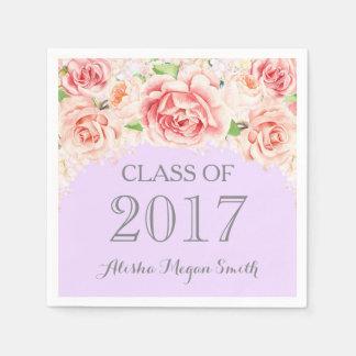 Pink Watercolor Floral Purple 2017 Graduation Paper Napkin