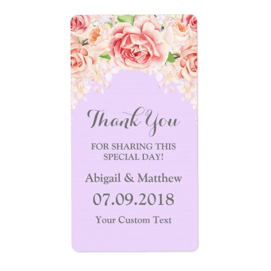 Pink Watercolor Floral Purple Wedding Labels