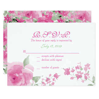 Pink Watercolor Floral Response Cards