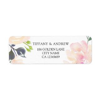 Pink Watercolor Floral Return Address Label