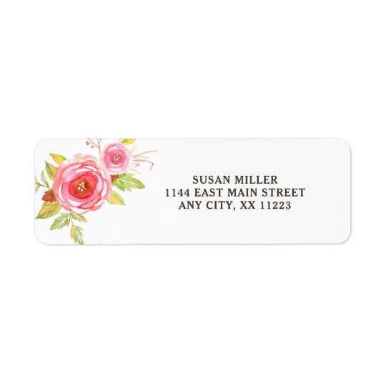 Pink Watercolor floral return address label 3605