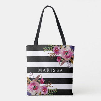 Pink Watercolor Floral Roses Black White Stripe Tote Bag