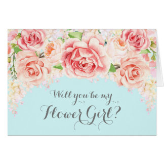 Pink Watercolor Floral Sky Blue Flower Girl Invite
