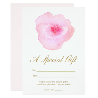 Pink Watercolor Floral Spa Salon Gift Certificate Card